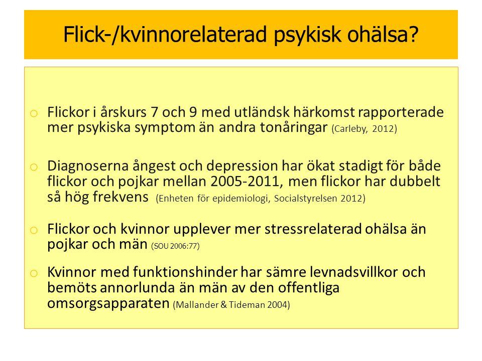 Flick-/kvinnorelaterad psykisk ohälsa