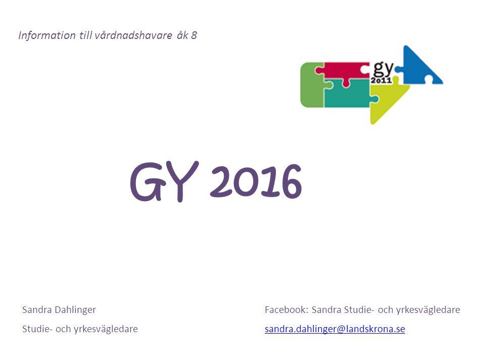 GY 2016 Information till vårdnadshavare åk 8