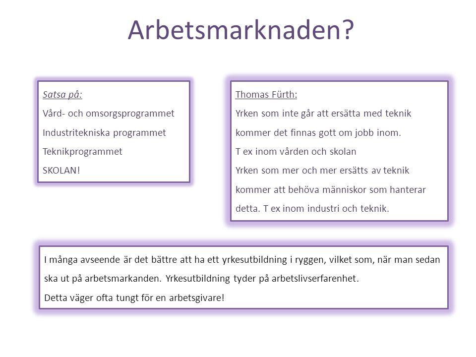 Arbetsmarknaden Satsa på: Vård- och omsorgsprogrammet