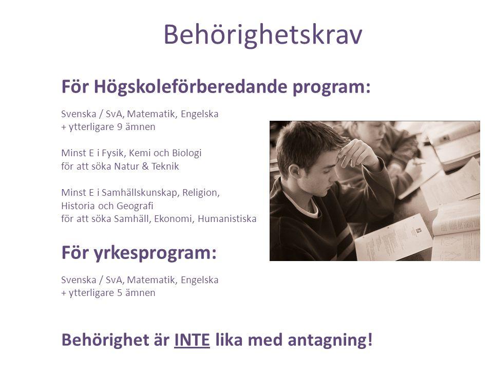 Behörighetskrav För Högskoleförberedande program: För yrkesprogram: