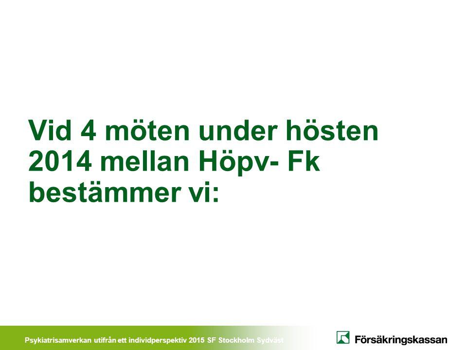 Vid 4 möten under hösten 2014 mellan Höpv- Fk bestämmer vi: