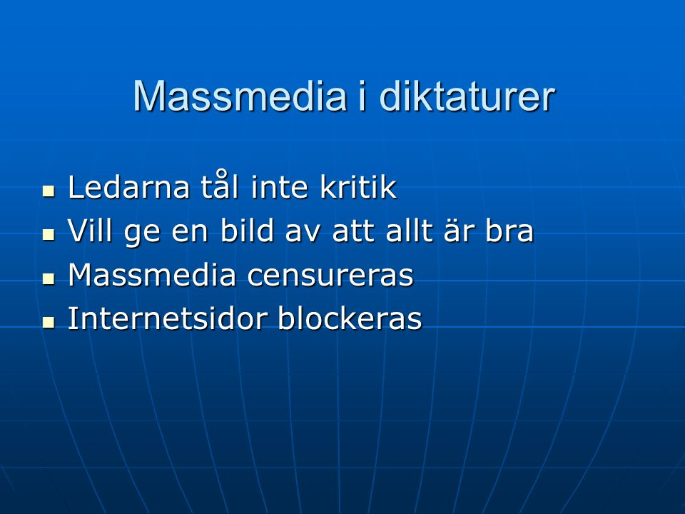 Massmedia i diktaturer