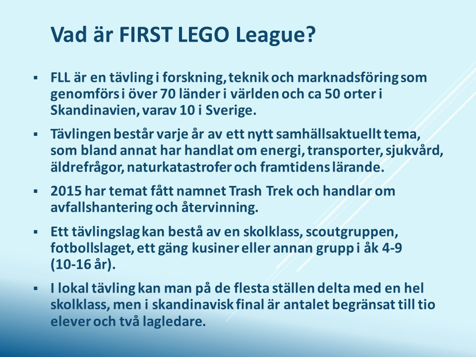Vad är FIRST LEGO League