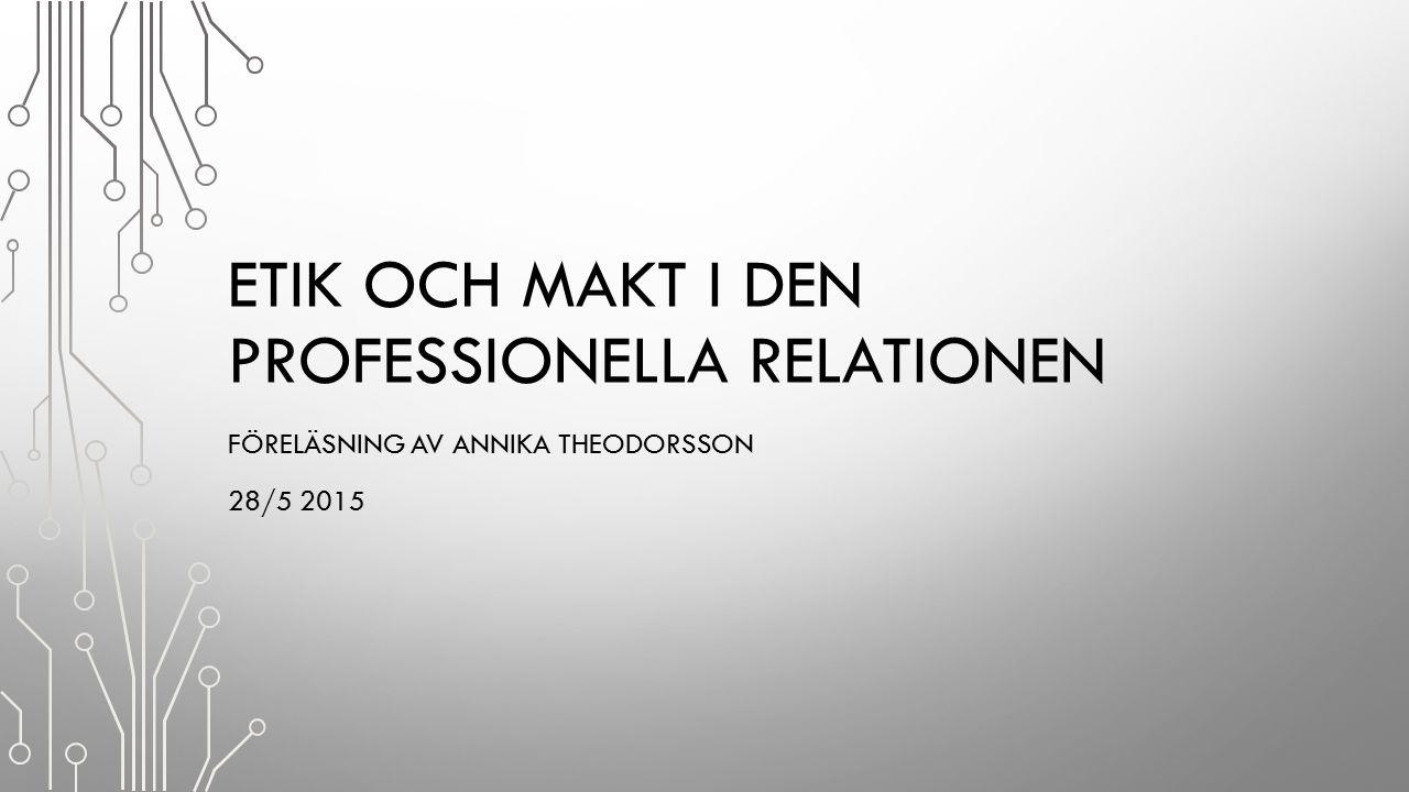 Etik och makt i den professionella relationen