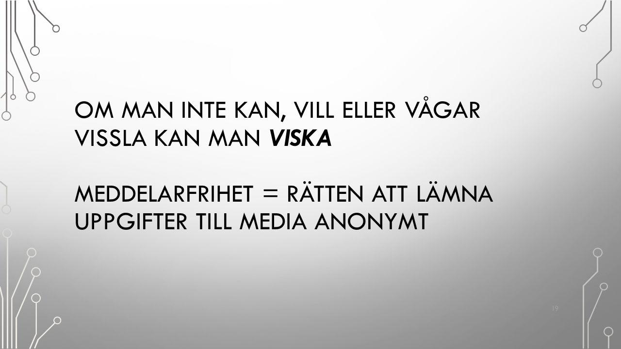 Om man inte kan, vill eller vågar vissla kan man viska Meddelarfrihet = rätten att lämna uppgifter till media anonymt