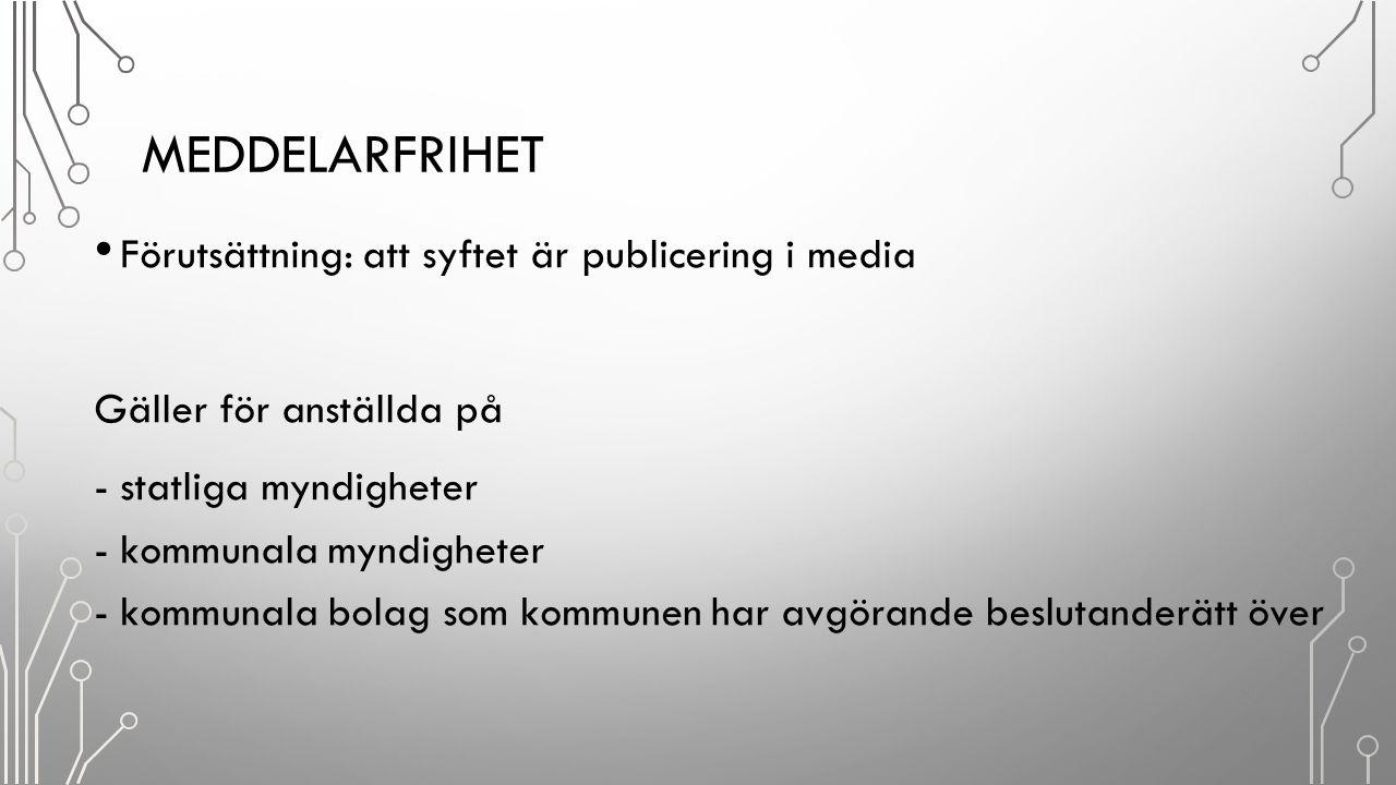Meddelarfrihet Förutsättning: att syftet är publicering i media