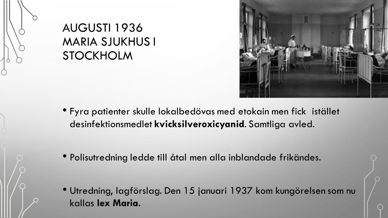 Augusti 1936 Maria sjukhus i Stockholm