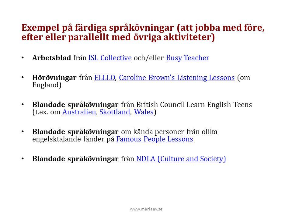 Exempel på färdiga språkövningar (att jobba med före, efter eller parallellt med övriga aktiviteter)