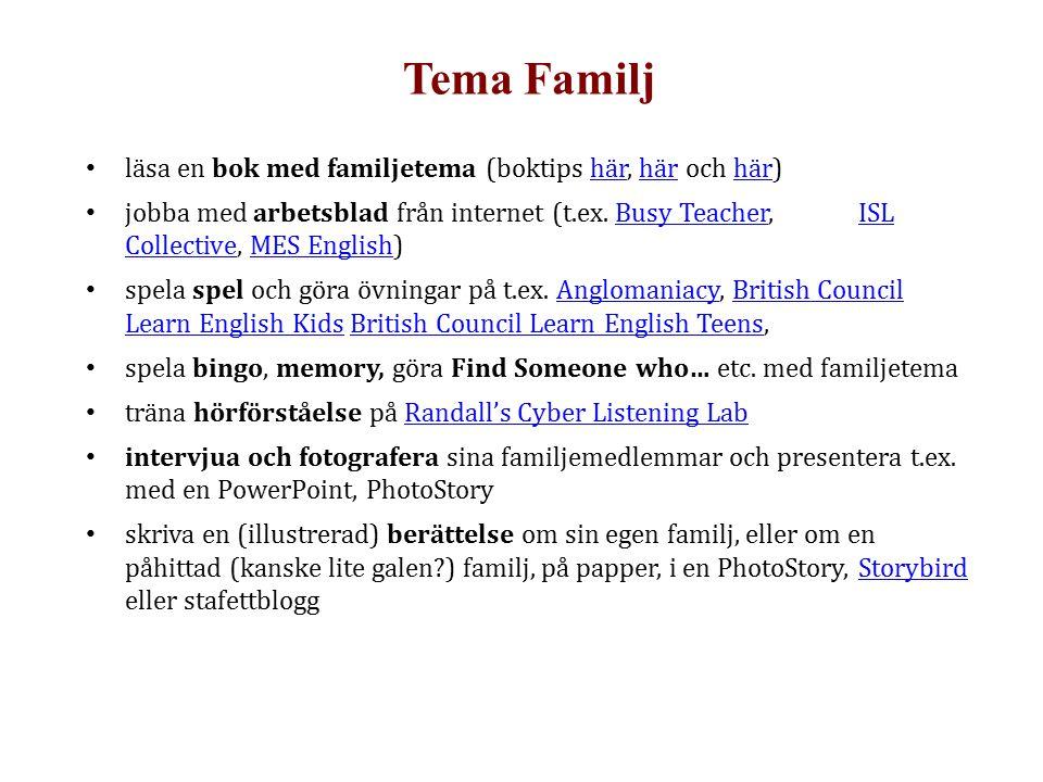 Tema Familj läsa en bok med familjetema (boktips här, här och här)