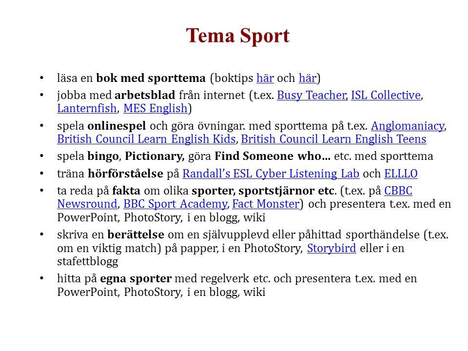 Tema Sport läsa en bok med sporttema (boktips här och här)