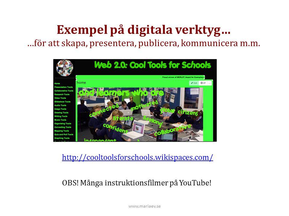 Exempel på digitala verktyg…