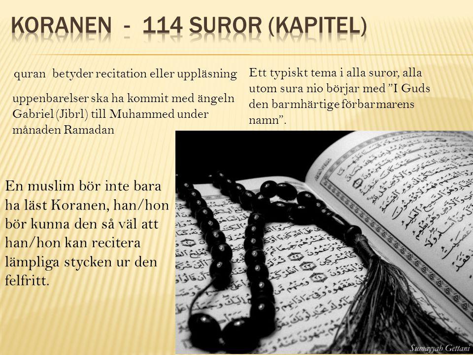 Koranen - 114 suror (kapitel)