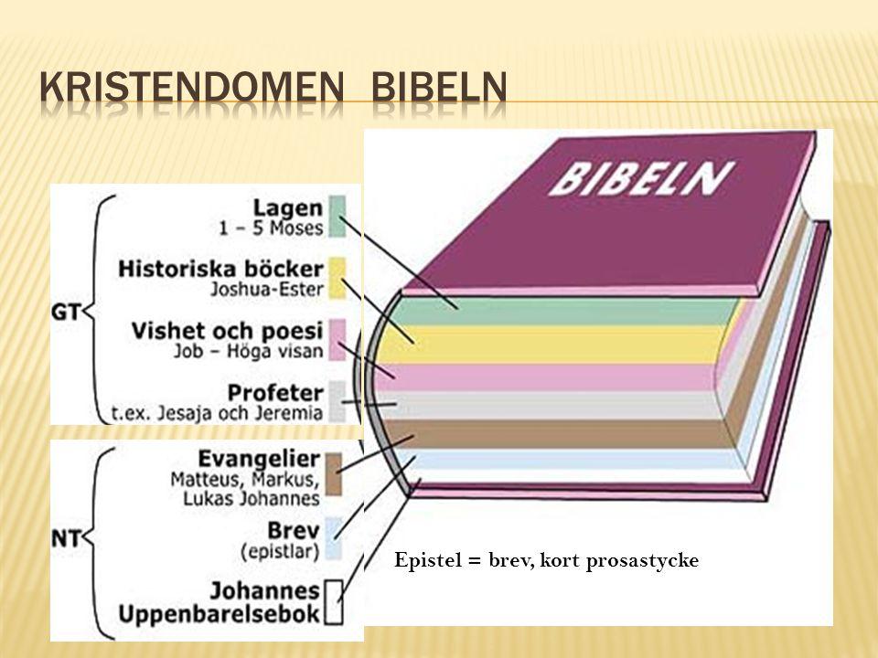Kristendomen Bibeln Epistel = brev, kort prosastycke