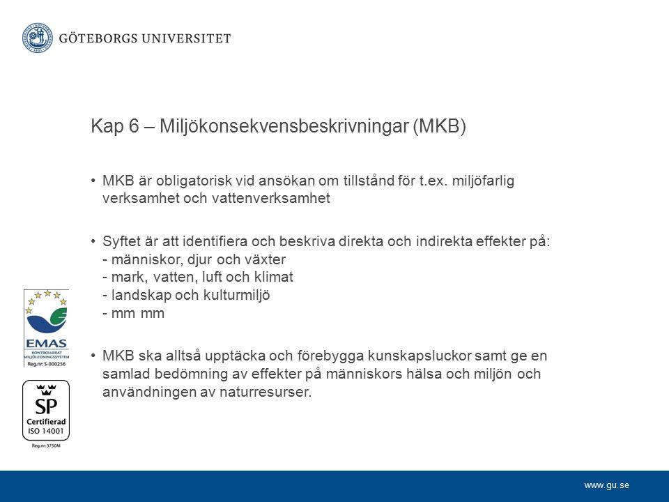Kap 6 – Miljökonsekvensbeskrivningar (MKB)