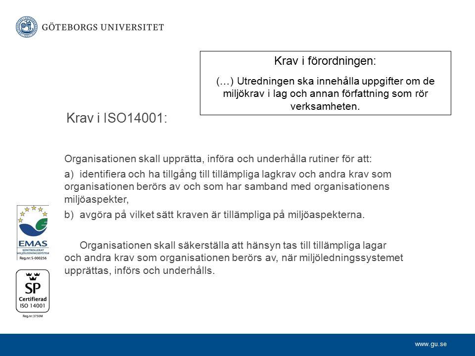 Krav i ISO14001: Krav i förordningen: