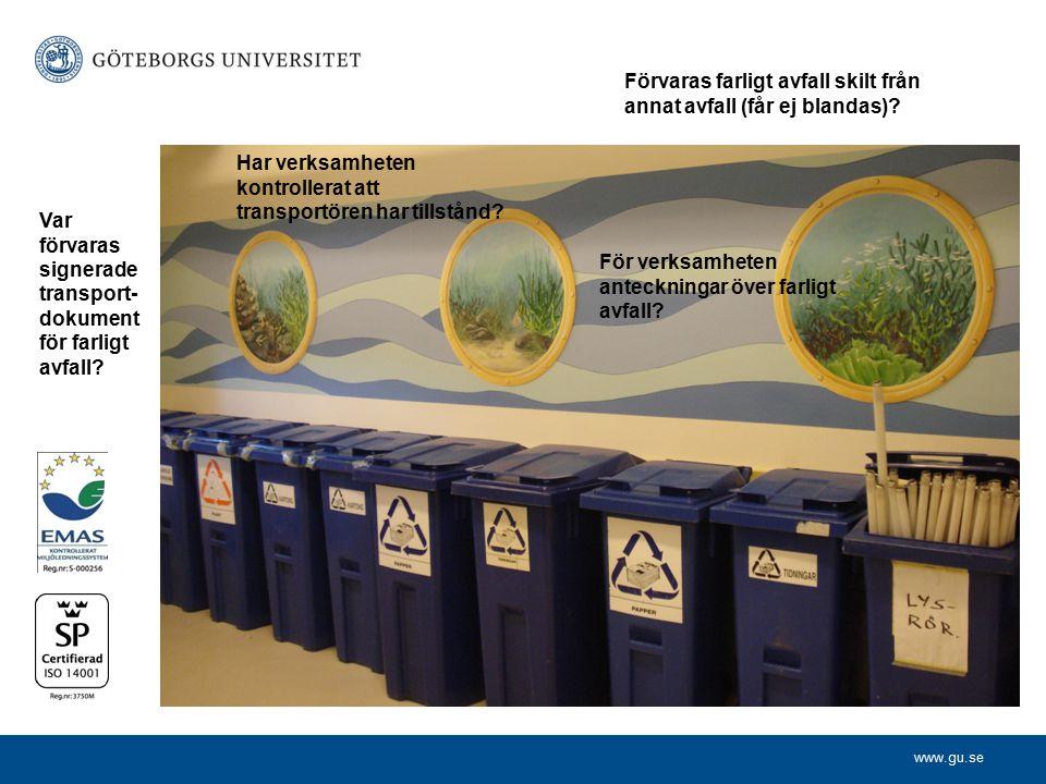 Förvaras farligt avfall skilt från annat avfall (får ej blandas)