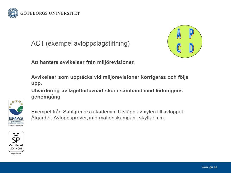 P D C A ACT (exempel avloppslagstiftning)