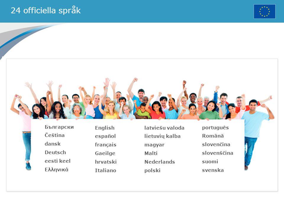 24 officiella språk Български Čeština dansk Deutsch eesti keel