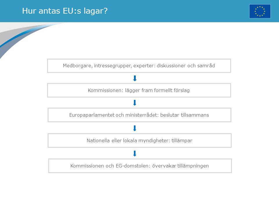 Hur antas EU:s lagar Medborgare, intressegrupper, experter: diskussioner och samråd. Kommissionen: lägger fram formellt förslag.