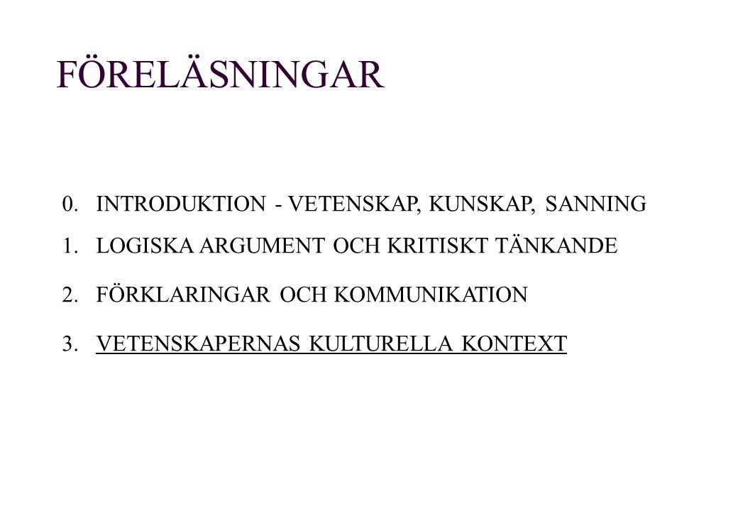 FÖRELÄSNINGAR 0. INTRODUKTION - VETENSKAP, KUNSKAP, SANNING