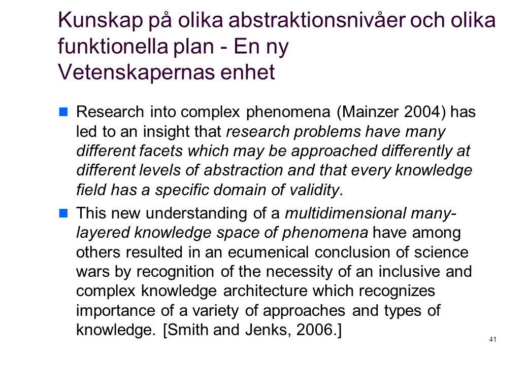 Kunskap på olika abstraktionsnivåer och olika funktionella plan - En ny Vetenskapernas enhet