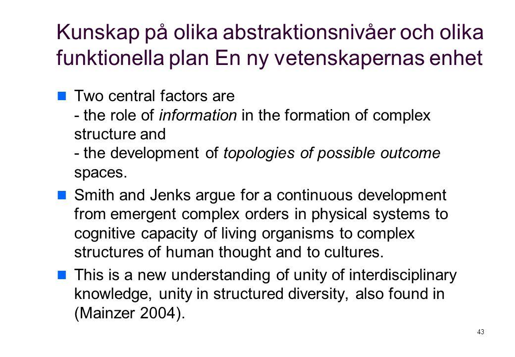 Kunskap på olika abstraktionsnivåer och olika funktionella plan En ny vetenskapernas enhet