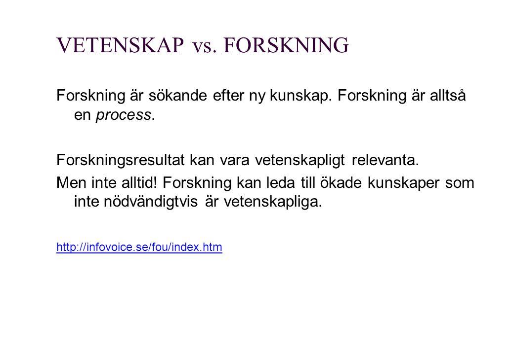VETENSKAP vs. FORSKNING