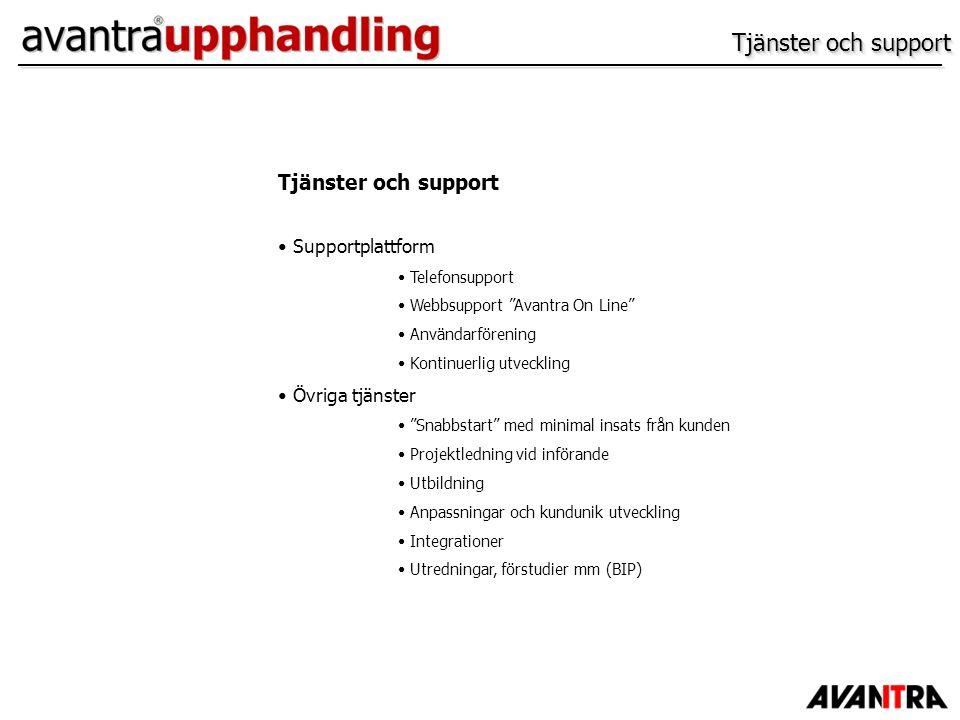 Tjänster och support Tjänster och support Supportplattform