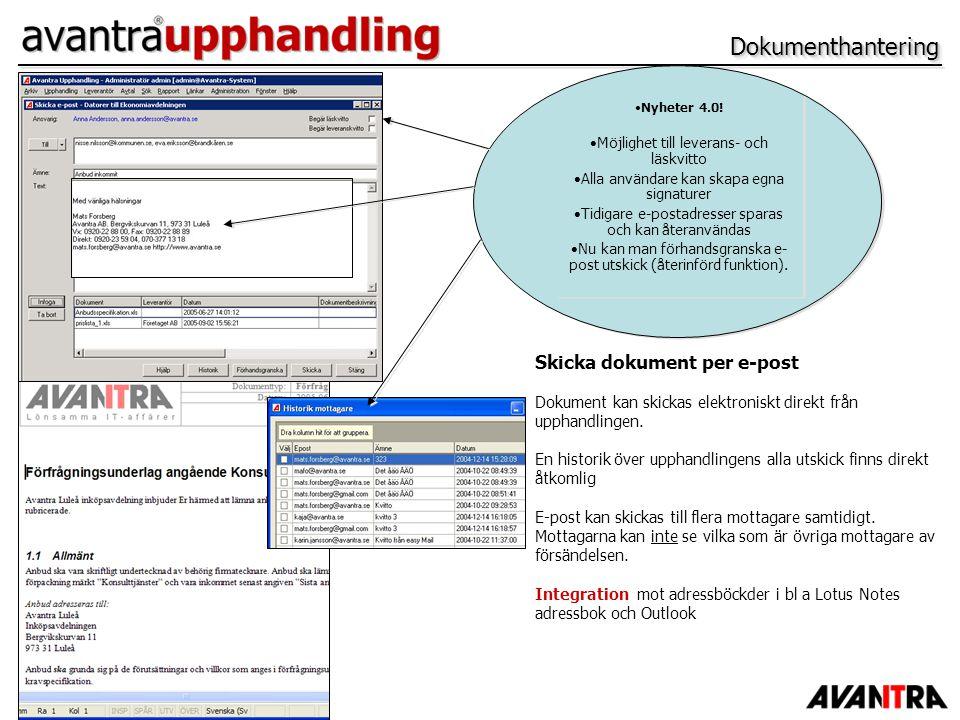 Dokumenthantering Skicka dokument per e-post