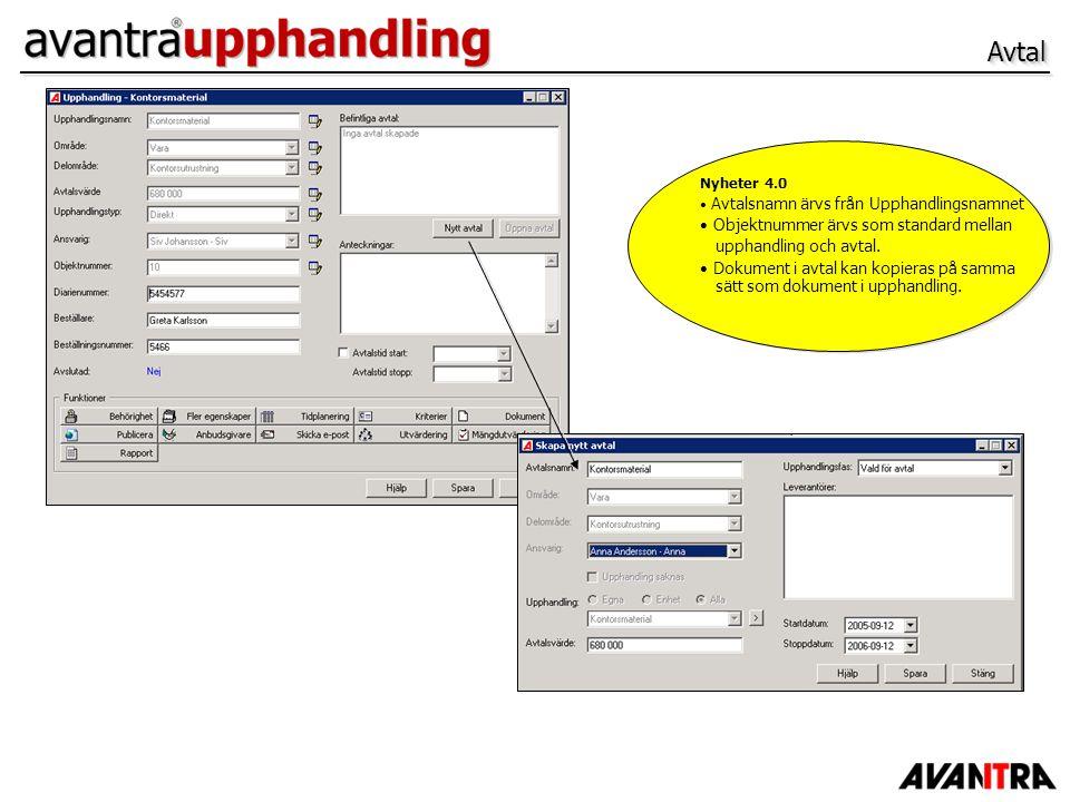 Avtal Objektnummer ärvs som standard mellan upphandling och avtal.