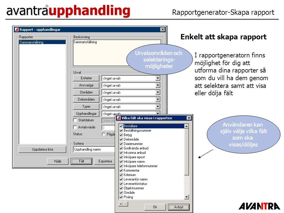 Rapportgenerator-Skapa rapport