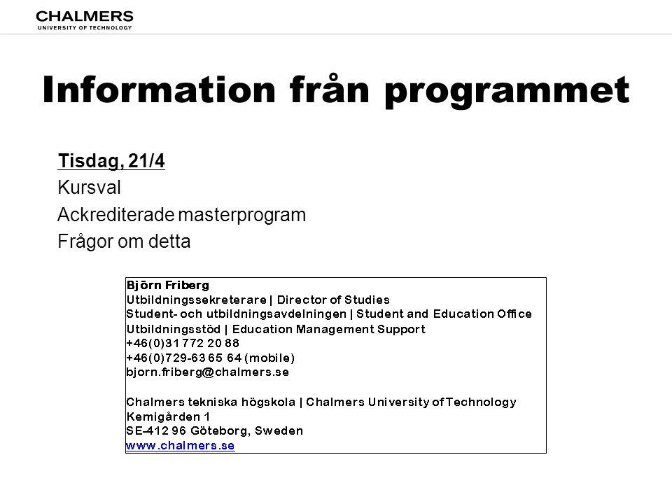 Information från programmet