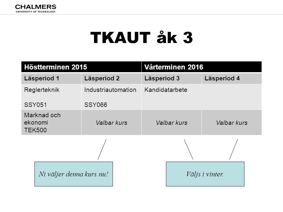 TKAUT åk 3 Höstterminen 2015 Vårterminen 2016 Ni väljer denna kurs nu!