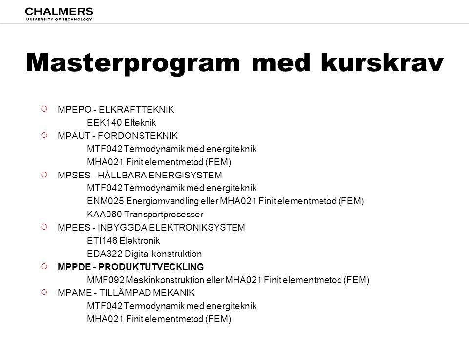 Masterprogram med kurskrav