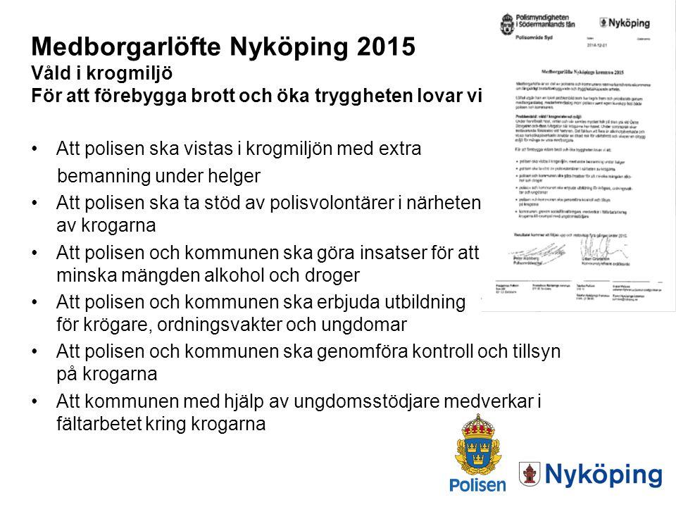 Medborgarlöfte Nyköping 2015 Våld i krogmiljö För att förebygga brott och öka tryggheten lovar vi: