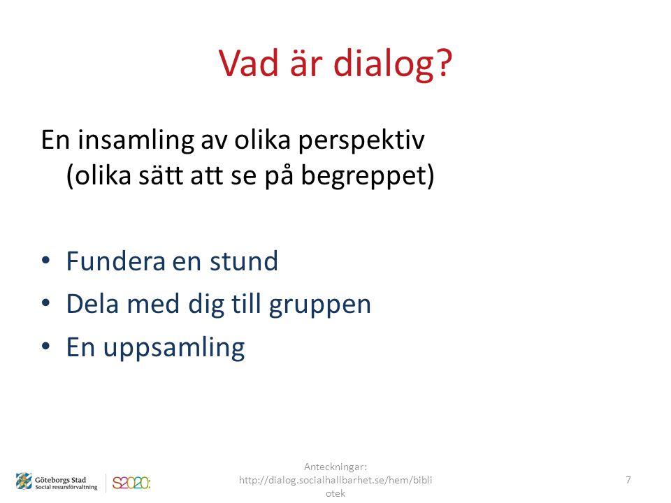 Anteckningar: http://dialog.socialhallbarhet.se/hem/bibliotek