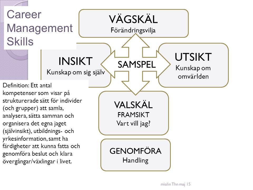 Career Management VÄGSKÄL Skills UTSIKT INSIKT SAMSPEL VALSKÄL