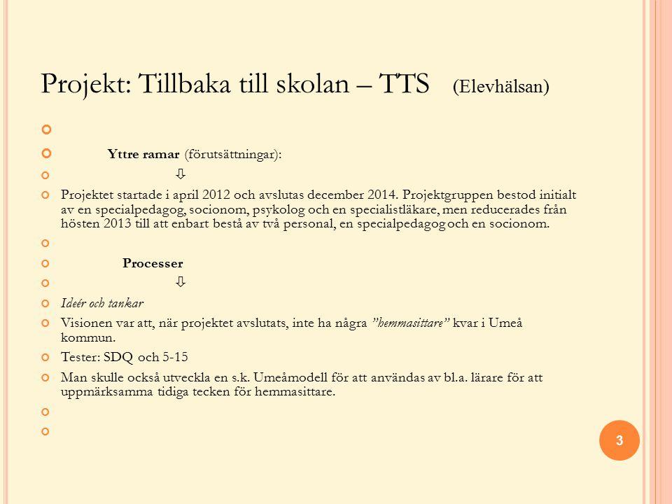 Projekt: Tillbaka till skolan – TTS (Elevhälsan)