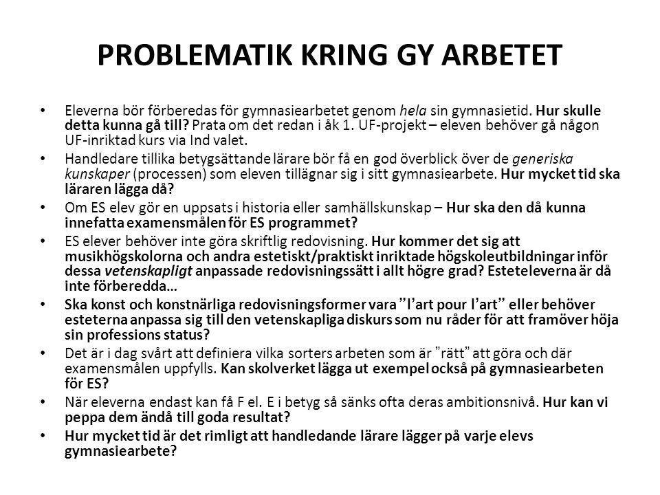 PROBLEMATIK KRING GY ARBETET
