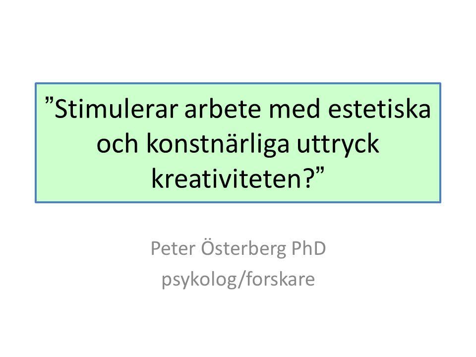 Peter Österberg PhD psykolog/forskare