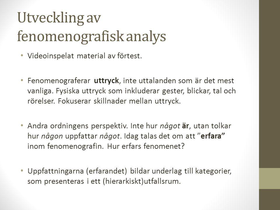 Utveckling av fenomenografisk analys
