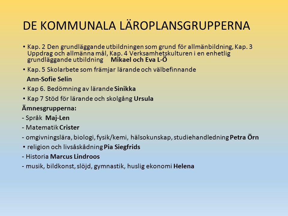 DE KOMMUNALA LÄROPLANSGRUPPERNA