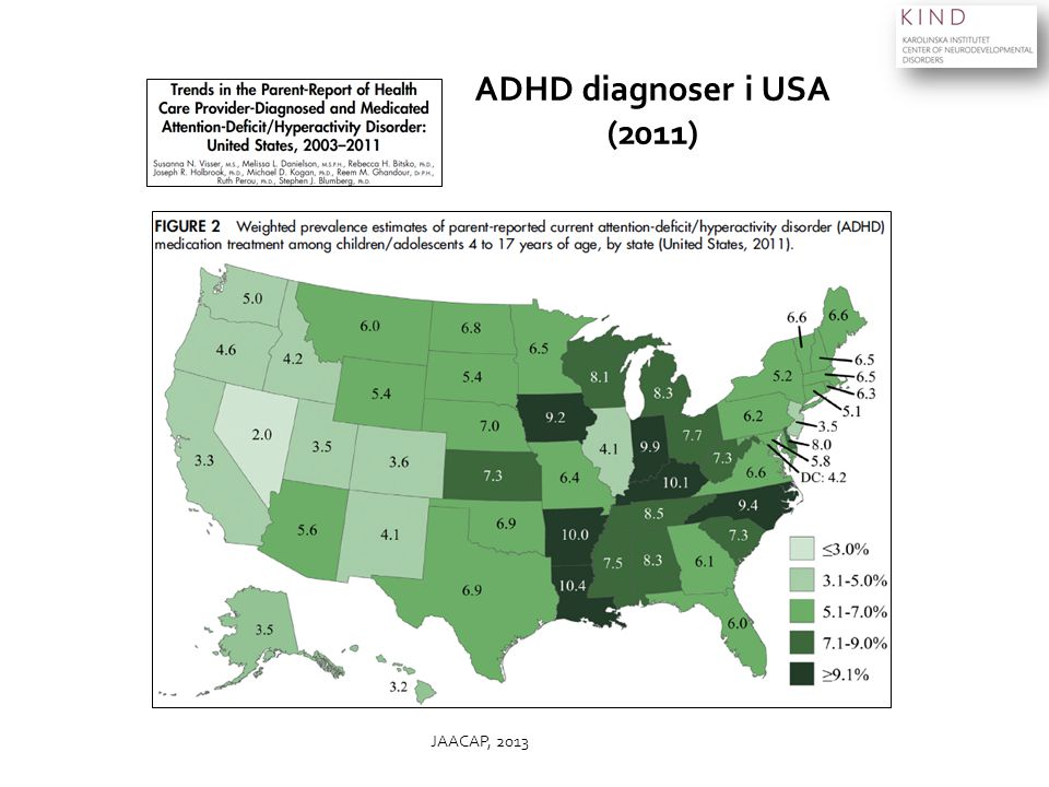 ADHD diagnoser i USA (2011) JAACAP, 2013