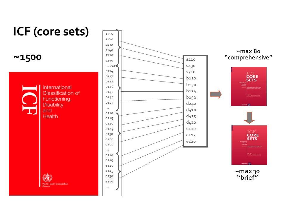 ICF (core sets) ~1500 ~max 30 brief ~max 80 comprehensive 27 s410