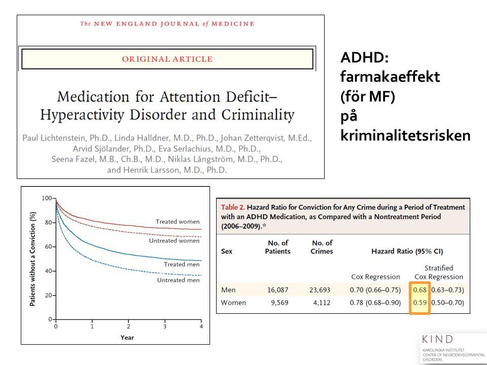 ADHD: farmakaeffekt (för MF) på kriminalitetsrisken