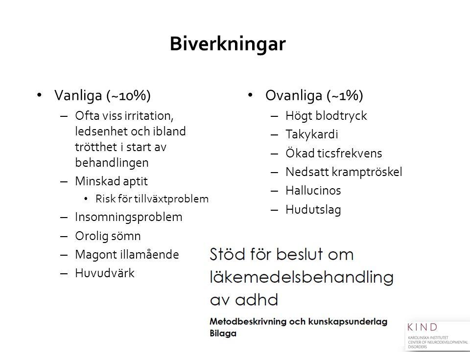 Biverkningar Vanliga (~10%) Ovanliga (~1%)