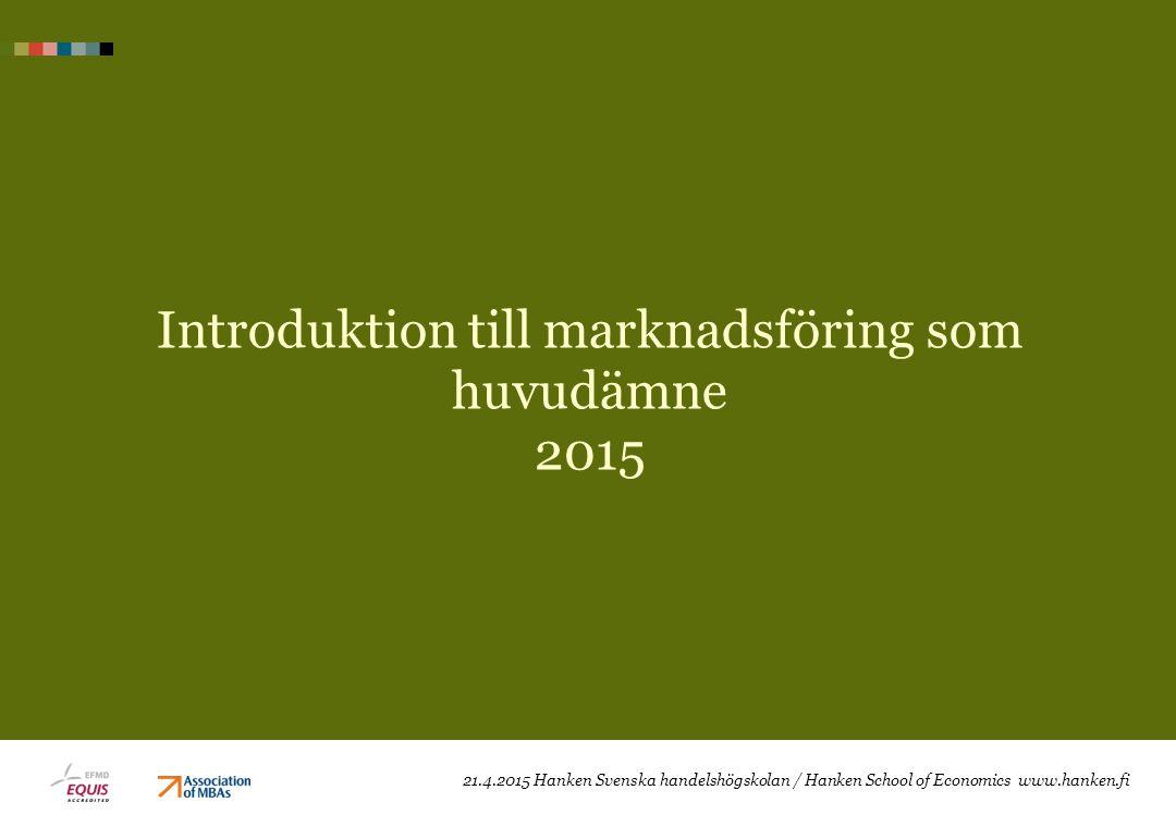 Introduktion till marknadsföring som huvudämne 2015