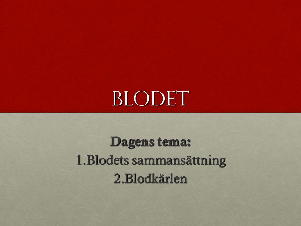 Dagens tema: Blodets sammansättning Blodkärlen