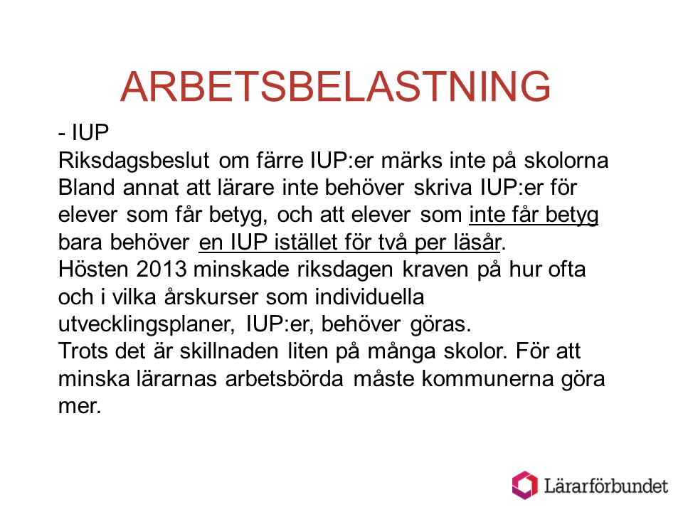ARBETSBELASTNING - IUP
