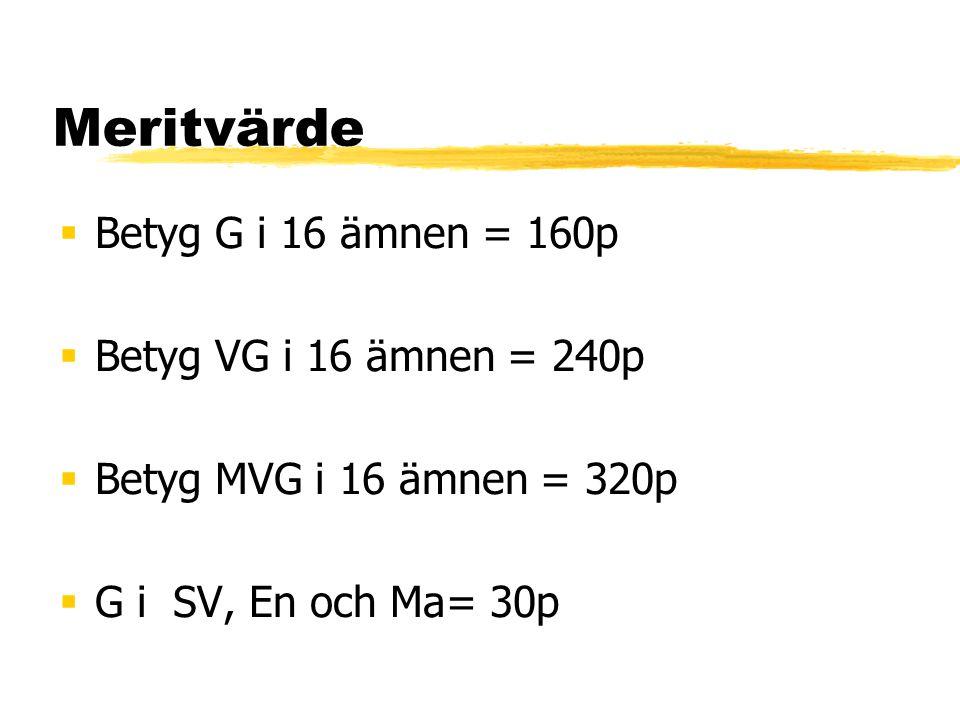 Meritvärde Betyg G i 16 ämnen = 160p Betyg VG i 16 ämnen = 240p